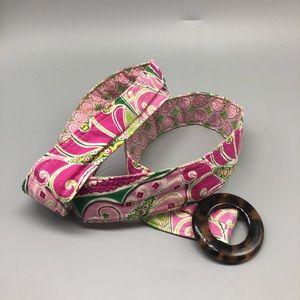 Vera Bradley pink paisley adjustable fabric belt